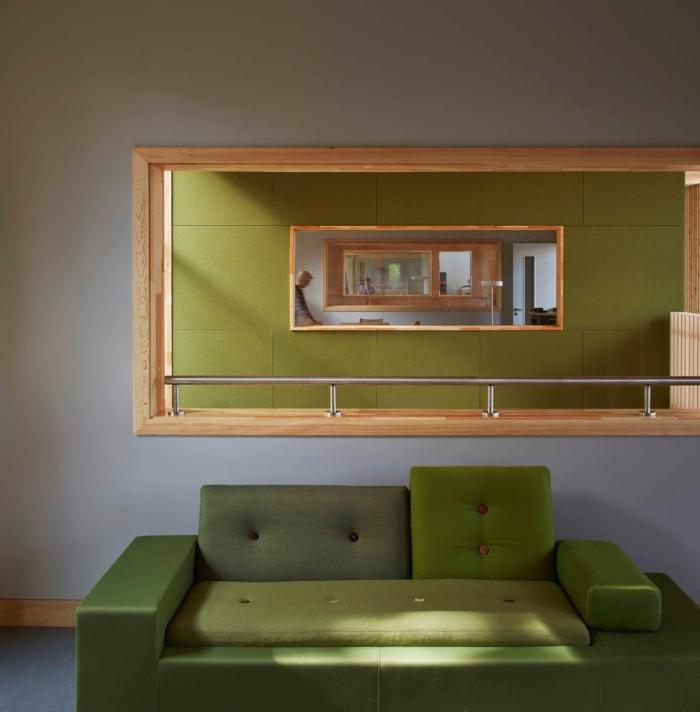 ©DennisGilbert/VIEW UEA Enterprise Centre. Bringing together the colour palette, forms and spacial connections inside the Enterprise Centre